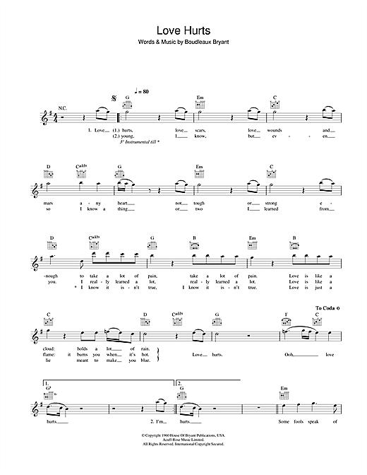 Love Hurts sheet music