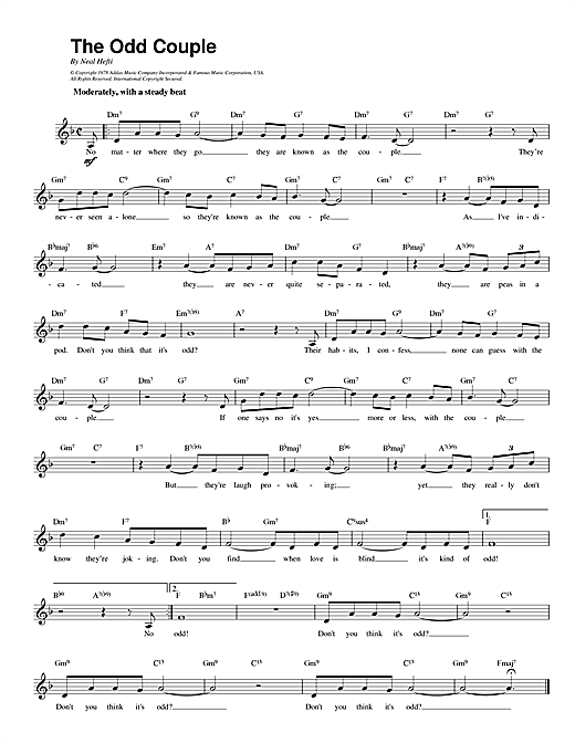 Theme from The Odd Couple sheet music