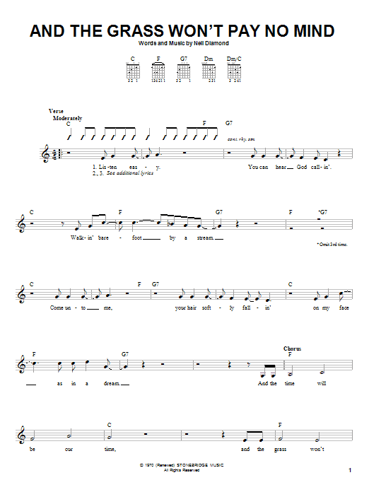 And The Grass Won't Pay No Mind sheet music