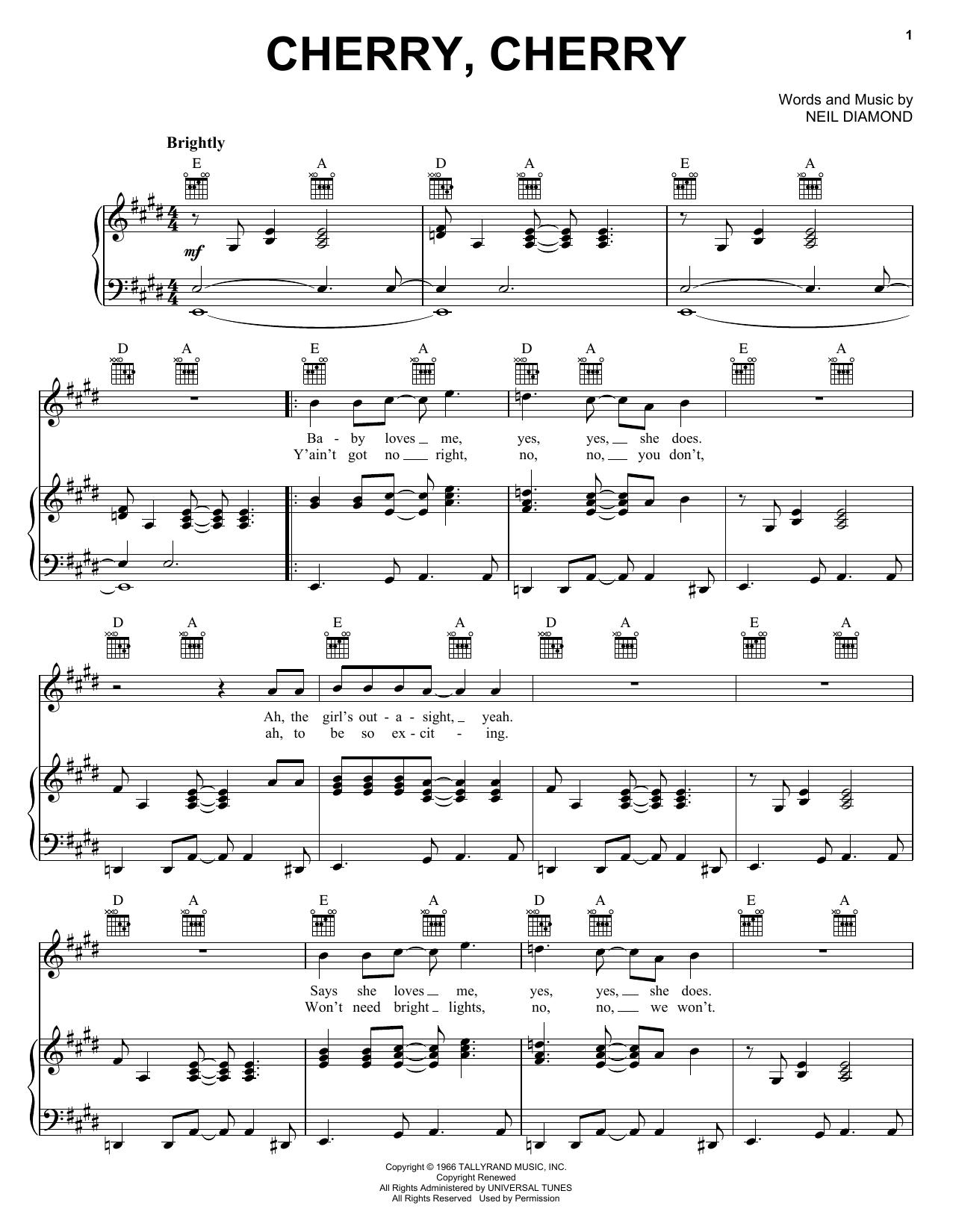 Cherry, Cherry sheet music