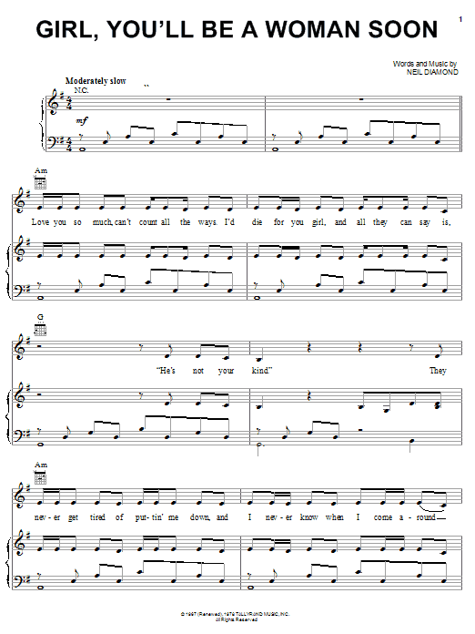 Girl, You'll Be A Woman Soon sheet music