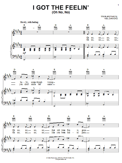 I Got The Feelin' (Oh No, No) sheet music