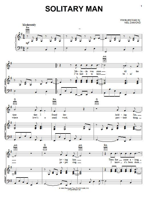 Solitary Man sheet music