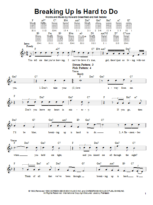 Breaking Up Is Hard To Do sheet music