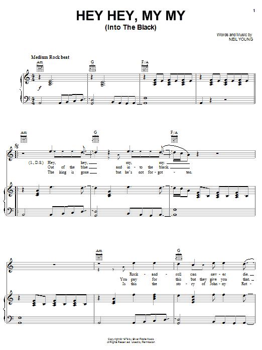 Hey Hey, My My (Into The Black) sheet music