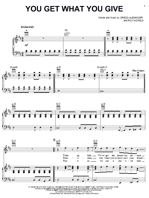 You Get What You Give sheet music