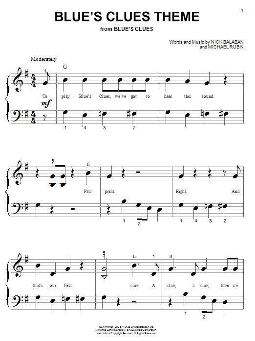 Blue's Clues Theme sheet music