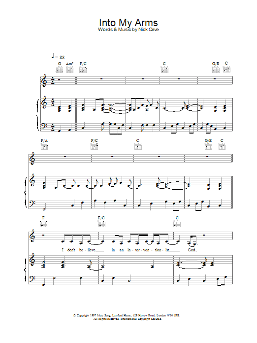 Into My Arms sheet music