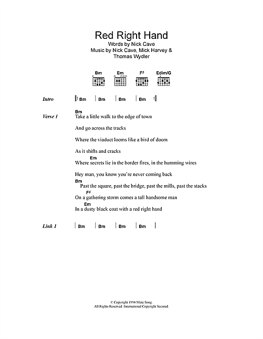 Red Right Hand sheet music