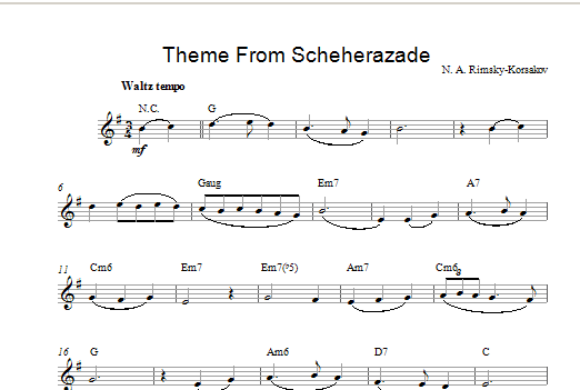Scheherezade Theme sheet music