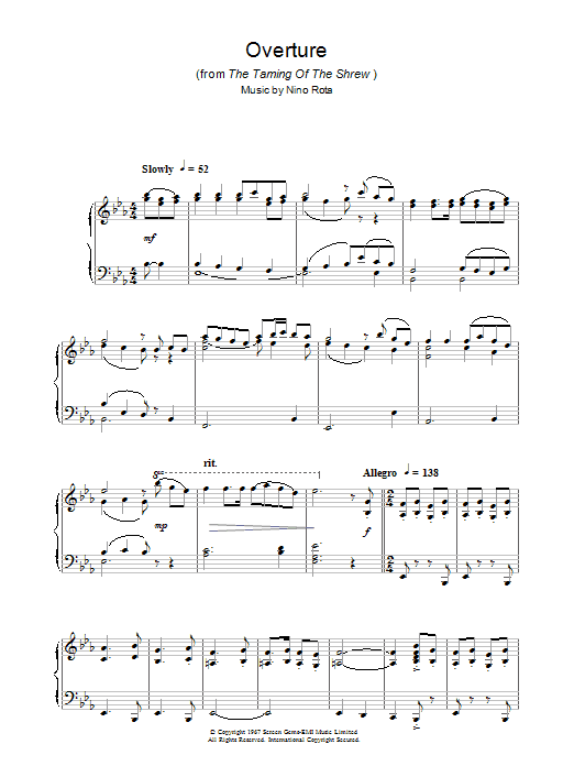 Overture (from The Taming Of The Shrew) sheet music