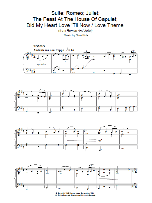 Suite: Romeo; Juliet; The Feast At The House Of Capulet; Did My Heart Love 'Til Now / A Time For Us (Love Theme from Romeo And Juliet) sheet music