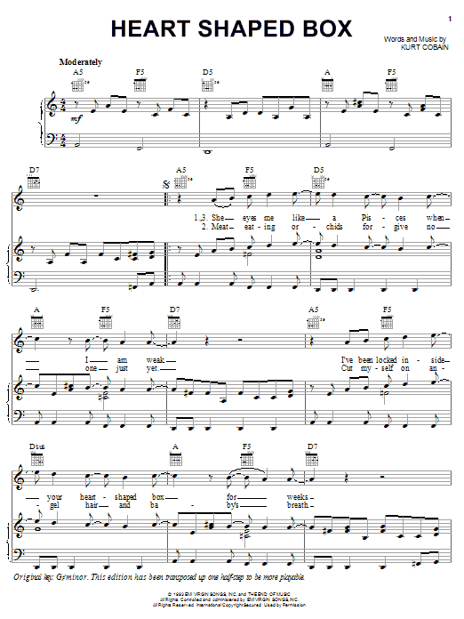 Heart Shaped Box sheet music