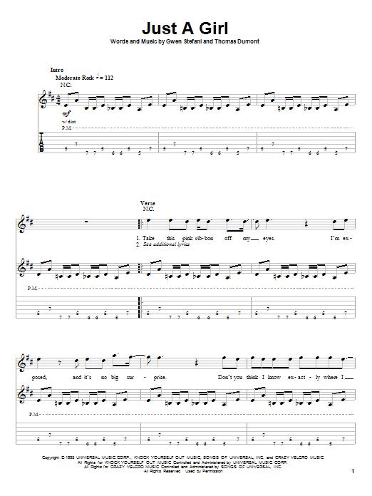 Just A Girl sheet music