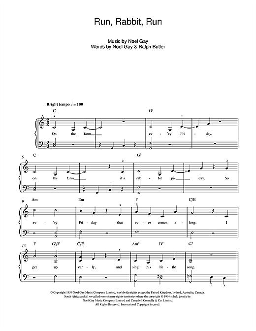 Run, Rabbit, Run sheet music