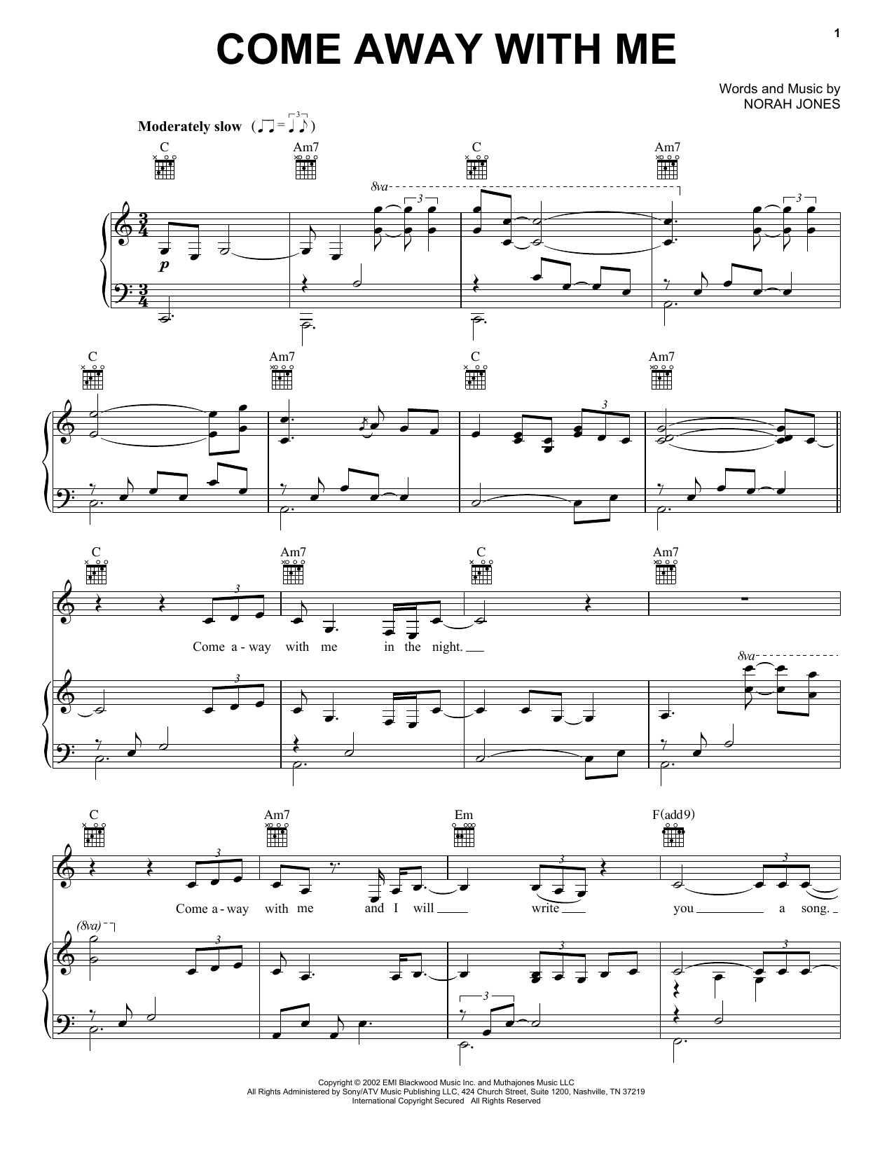 Norah Jones 'Come Away With Me' Sheet Music Notes, Chords   Download  Printable Solo Guitar Tab   SKU 15