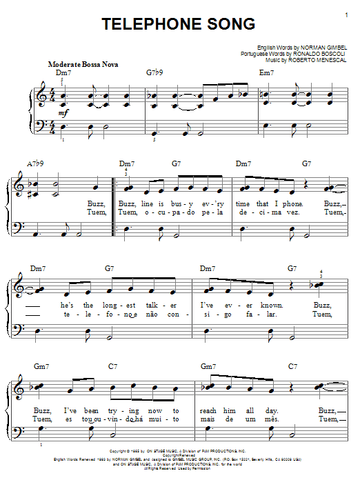 Telephone Song sheet music