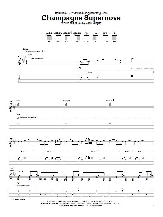 Champagne Supernova sheet music