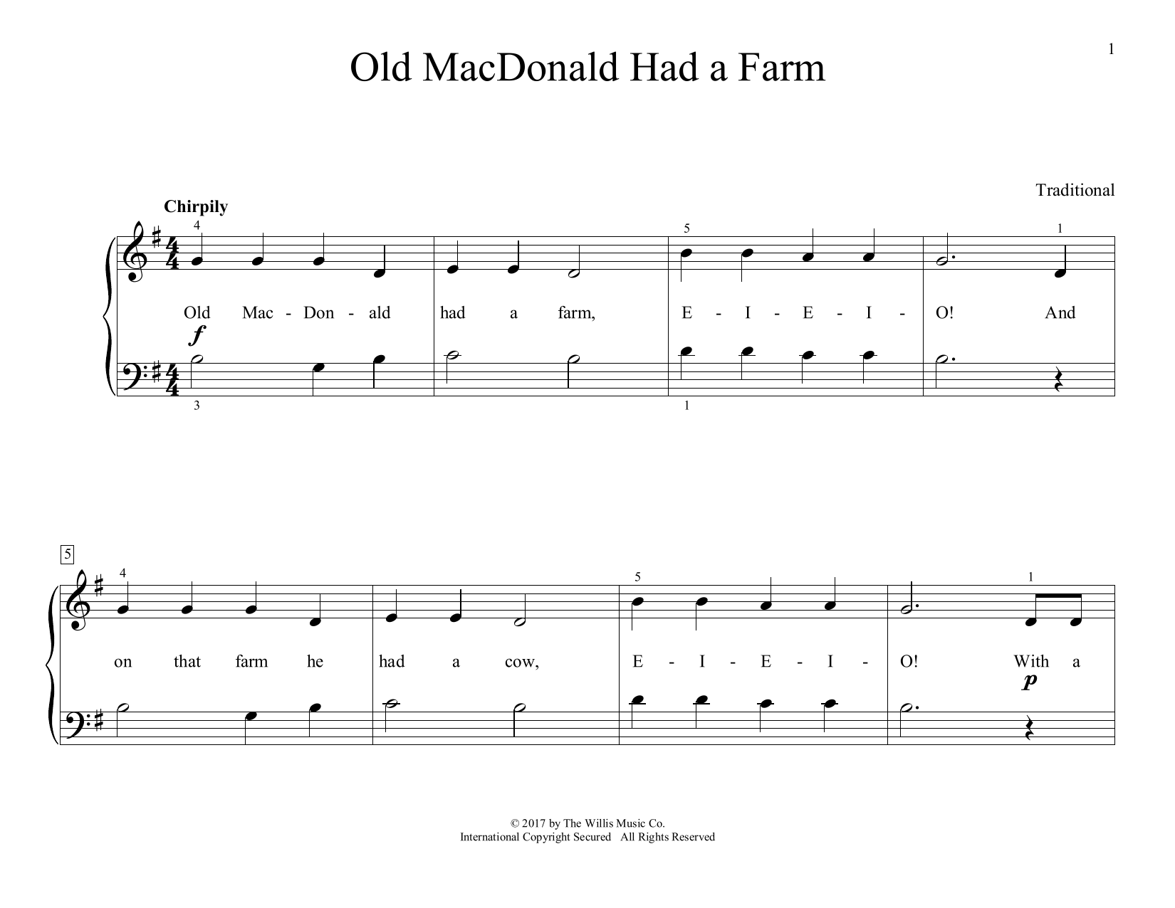 Traditional Old Macdonald Had A Farm Arr Christopher Hussey Sheet Music Download Pdf Score 411429