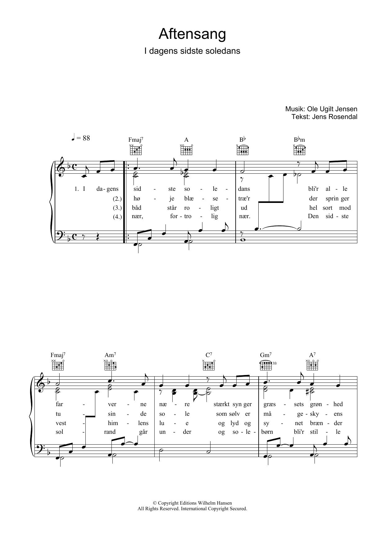 Aftensang I Dagens Sidste Soledans sheet music