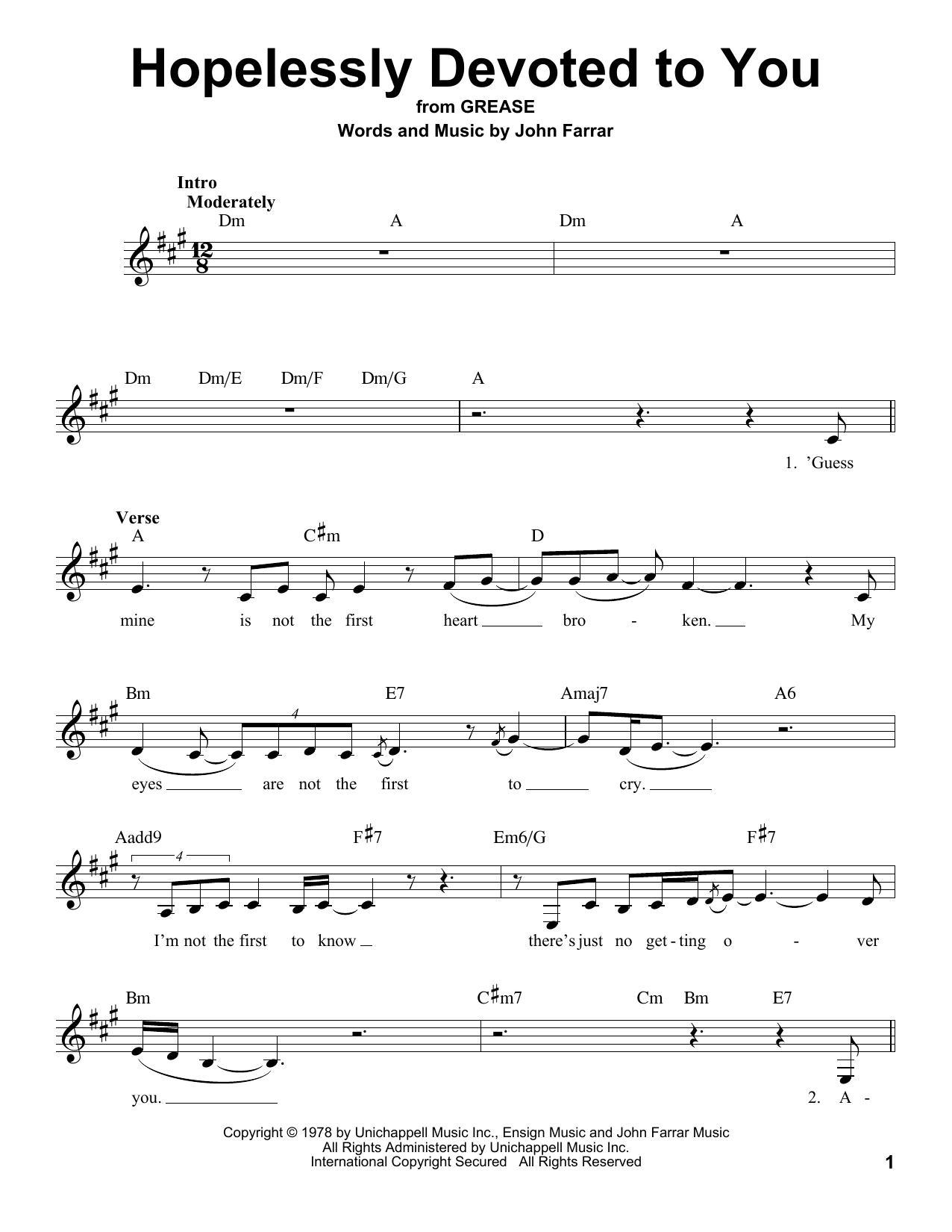 Hopelessly Devoted To You sheet music