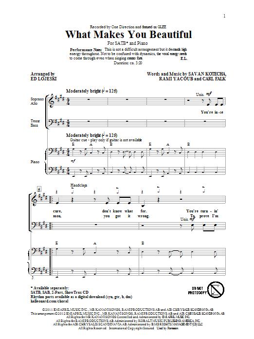 What Makes You Beautiful (arr. Ed Lojeski) sheet music