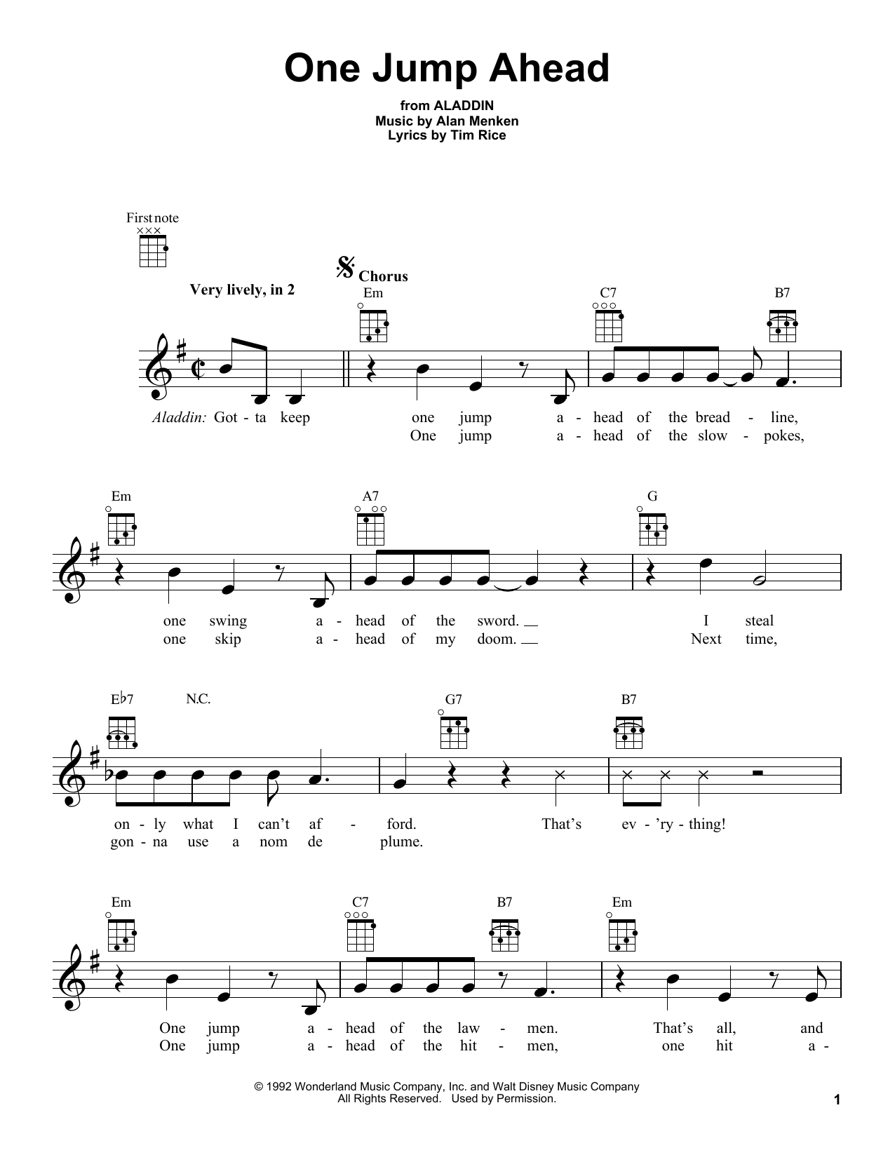 Alan Menken One Jump Ahead From Aladdin Sheet Music Download Pdf Score 195685