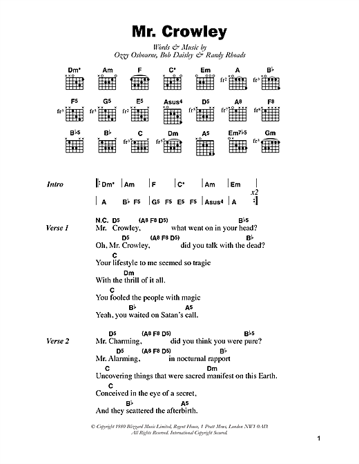 Mr. Crowley sheet music