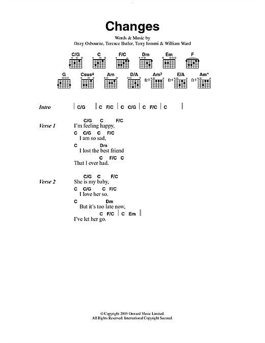 Changes sheet music
