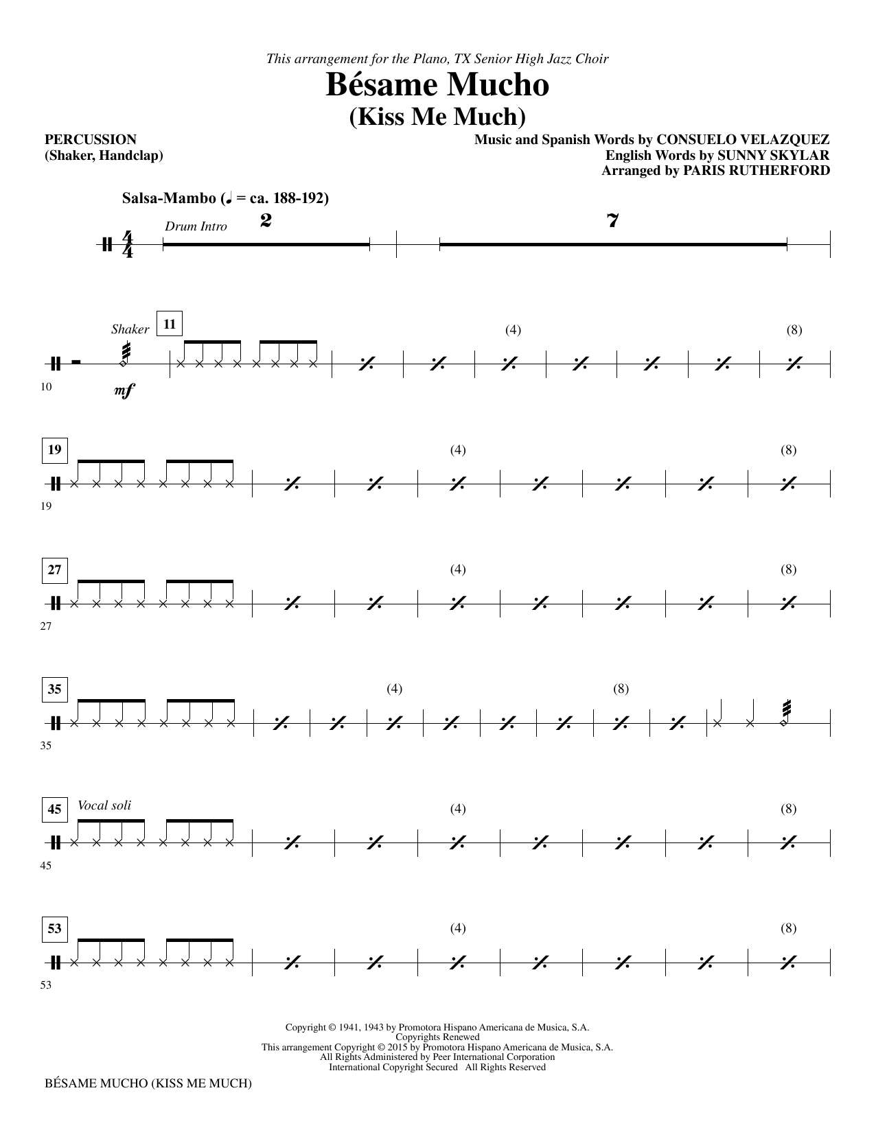 Besame Mucho (Kiss Me Much) - Percussion sheet music