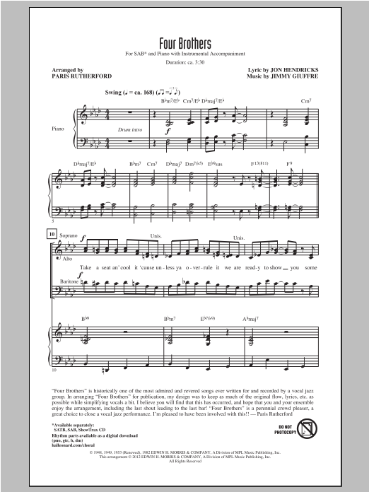Four Brothers sheet music