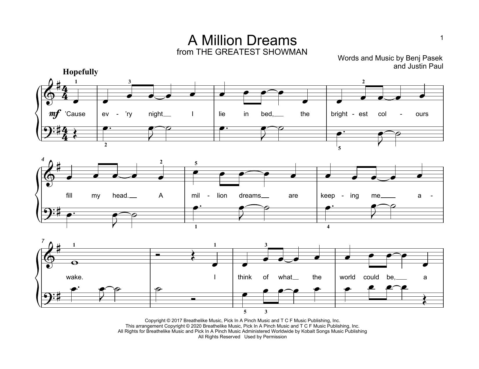 Pasek Paul A Million Dreams From The Greatest Showman Sheet Music Download Pdf Score 198164