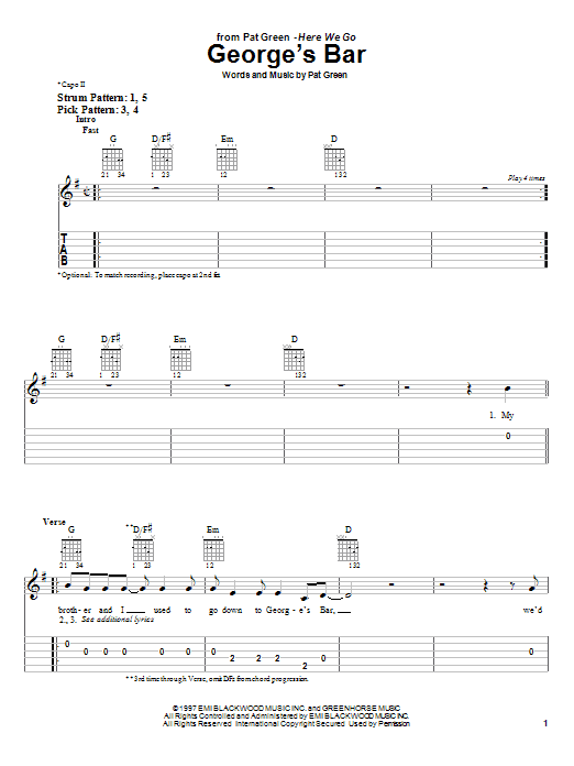 George's Bar sheet music