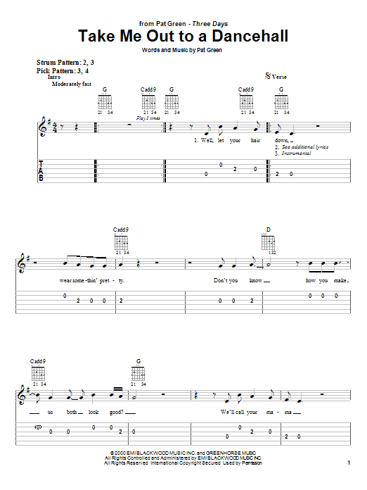 Take Me Out To A Dancehall sheet music