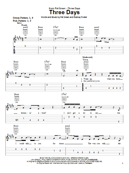 Three Days sheet music