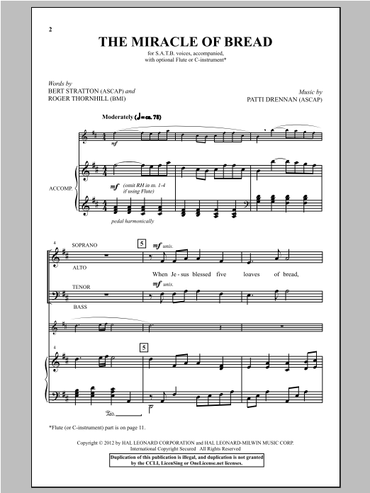 The Miracle Of Bread sheet music
