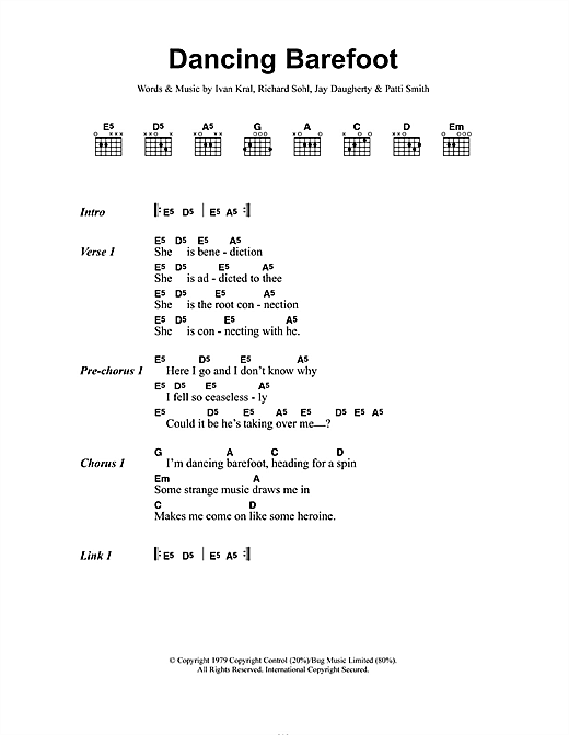 Dancing Barefoot sheet music