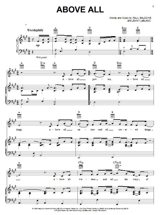 Above All sheet music