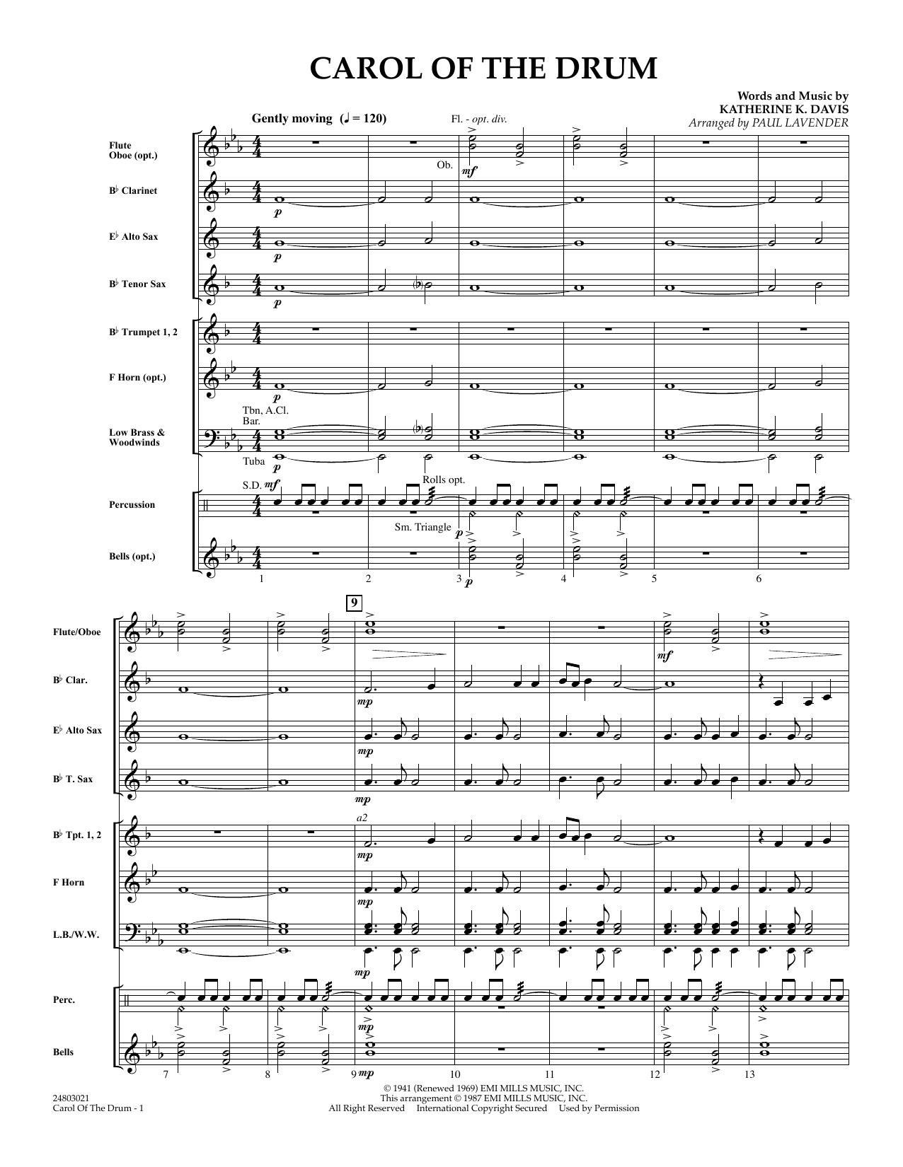 Carol of the Drum - Full Score sheet music