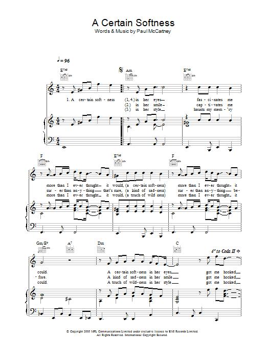 A Certain Softness sheet music