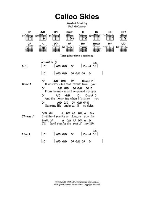 Calico Skies sheet music