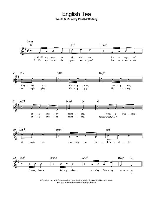 English Tea sheet music