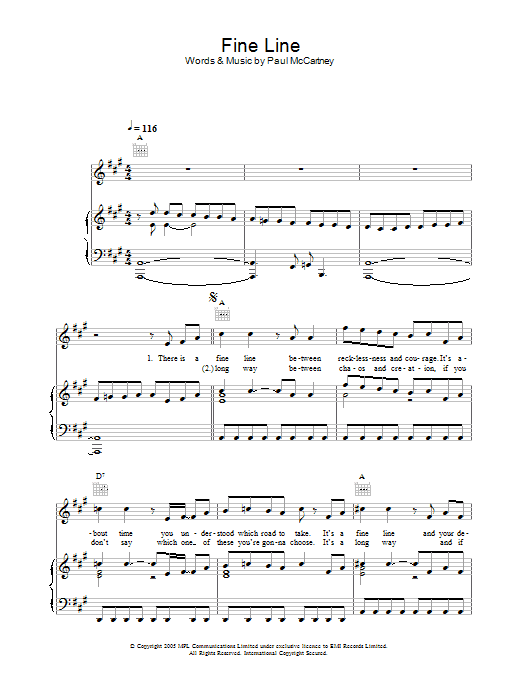 Fine Line sheet music