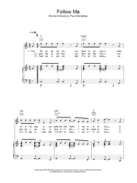 Follow Me sheet music