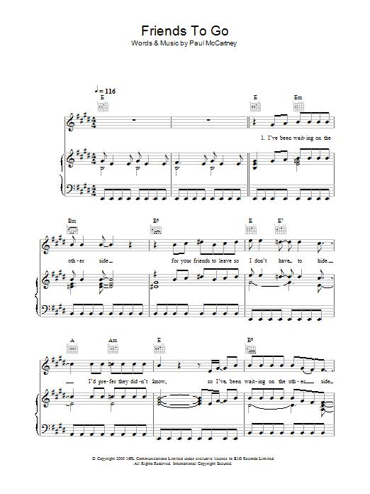 Friends To Go sheet music
