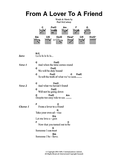 From A Lover To A Friend sheet music