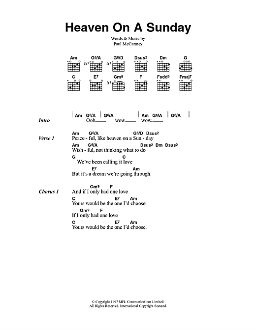 Heaven On A Sunday sheet music