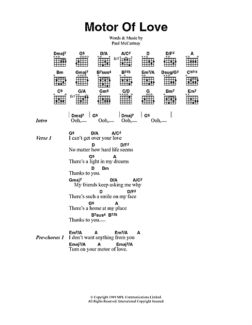Motor Of Love sheet music