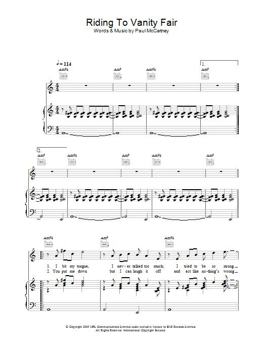 Riding To Vanity Fair sheet music