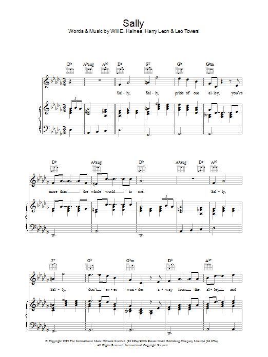 Sally sheet music